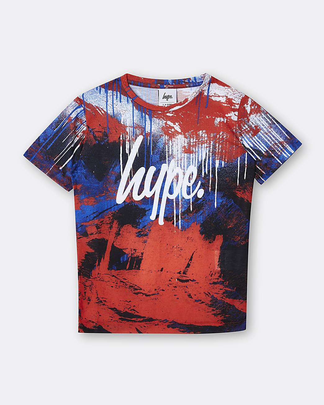 Boys red Hype paint print t-shirt