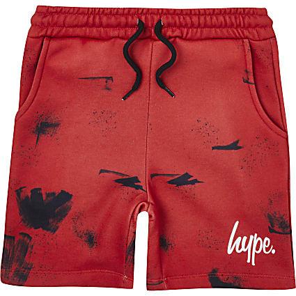 Boys red Hype splatter print shorts