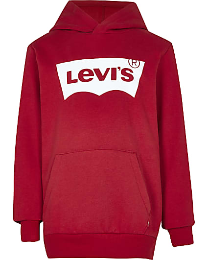 Boys red Levi's long sleeve hoodie