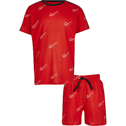 Boys red logo taped outfit