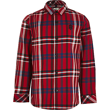 Boys red long sleeve check print shirt