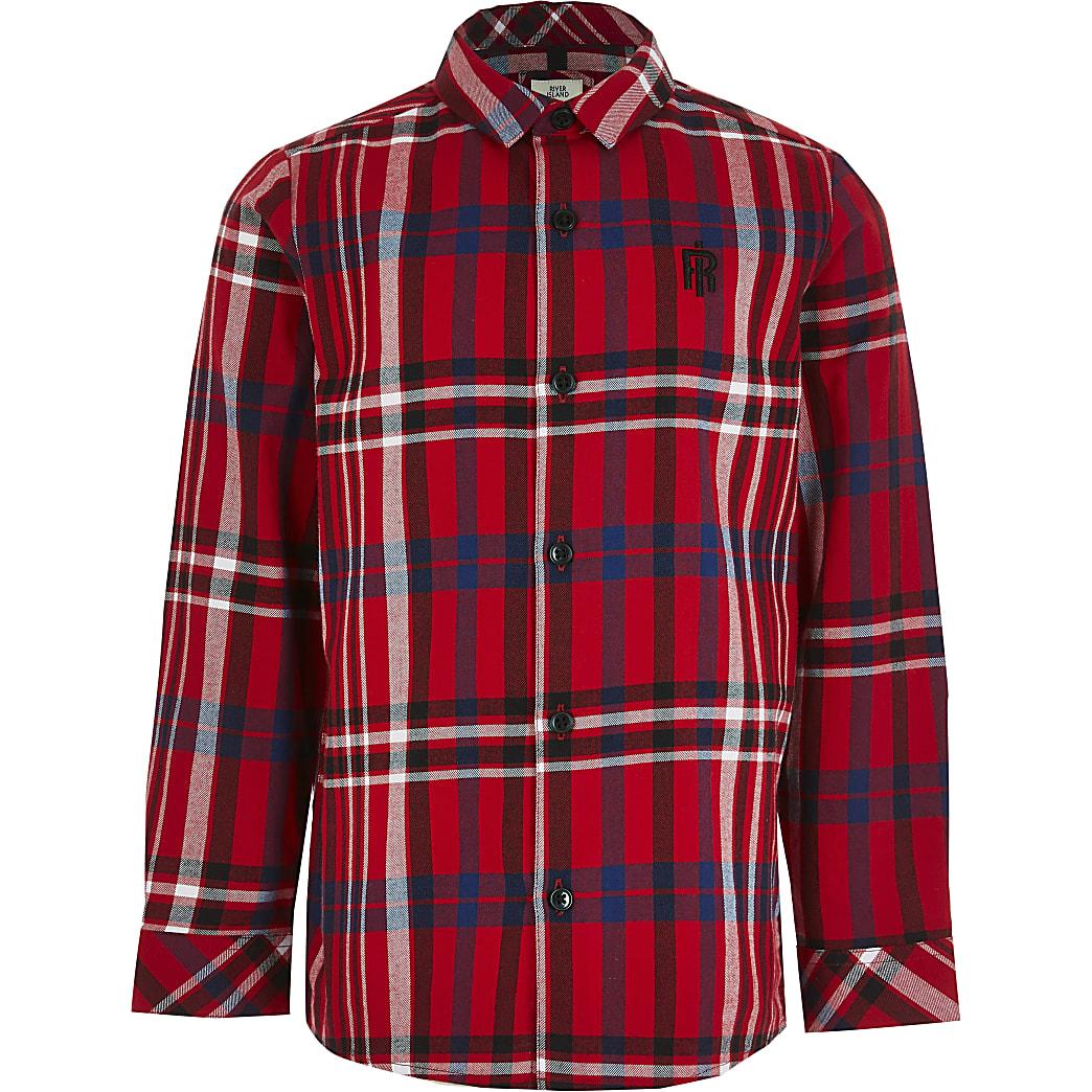 Boys red long sleeve check print shirt