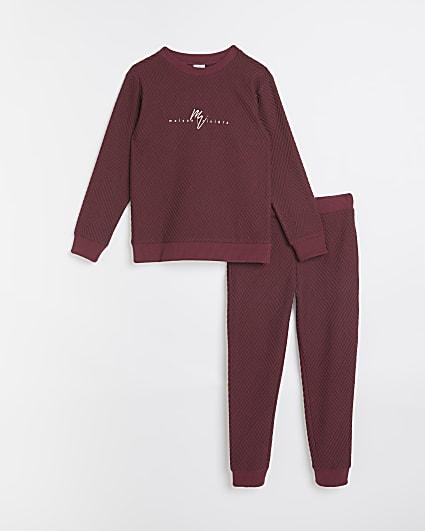 Boys red Maison Rivera sweatshirt and joggers