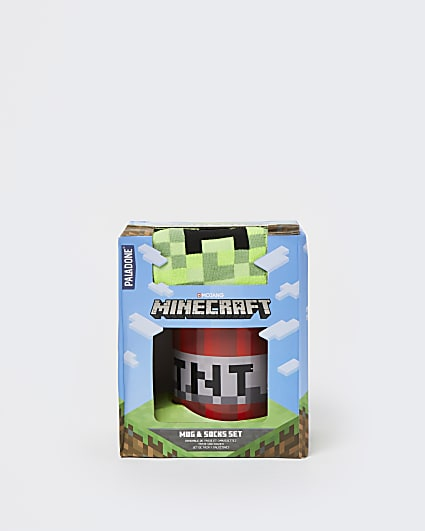 Boys red Minecraft mug and socks set