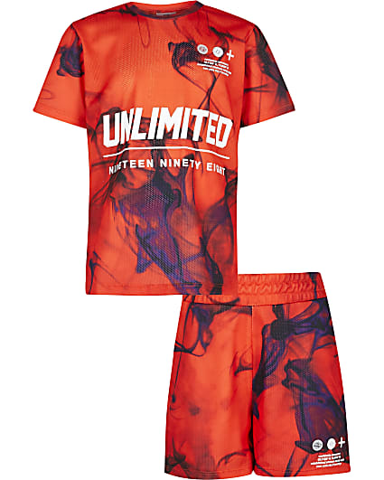 Boys red printed t-shirt and shorts outfit