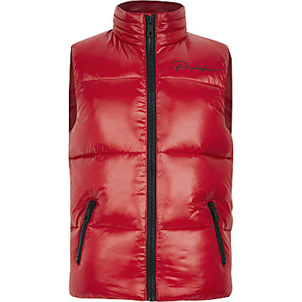 Boys red Prolific padded gilet