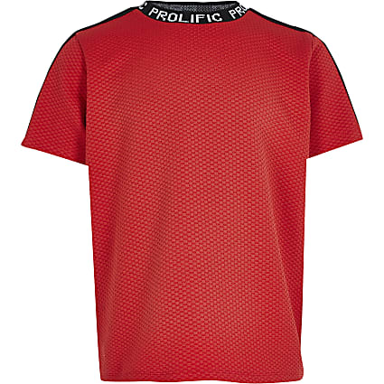 Boys red Prolific tape neck t-shirt