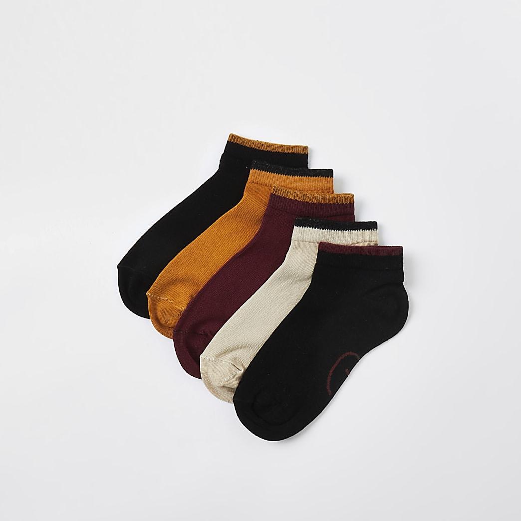 Boys red prolific trainer socks 5 packs