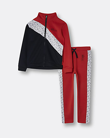 Boys red RI colour block sweatshirt outfit