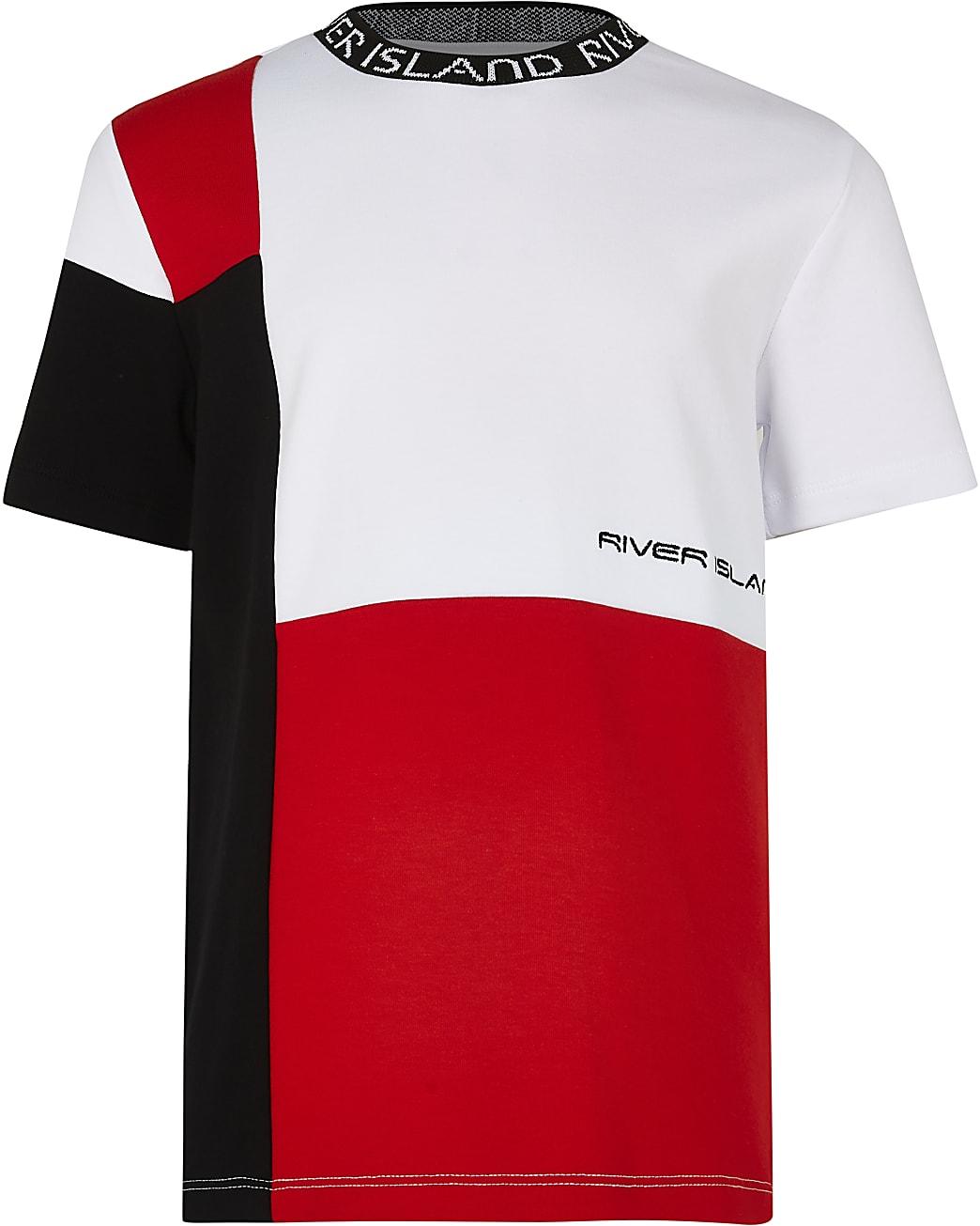 Boys red RI colour block t-shirt