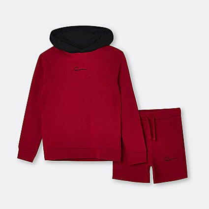 Boys red RI hoodie and shorts outfit