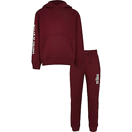 Boys red RI One hoodie outfit