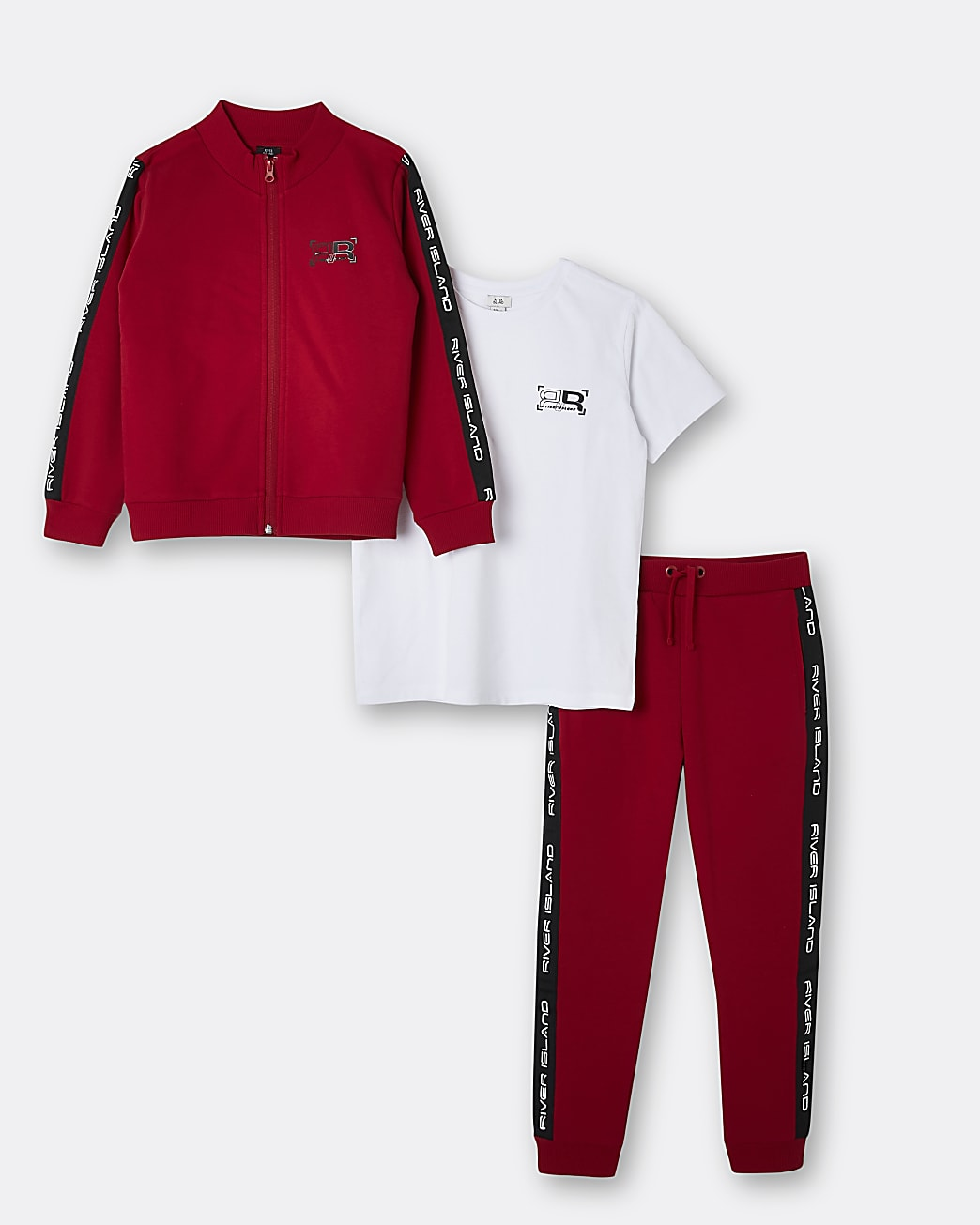 Boys red RI taped 3 piece tracksuit set