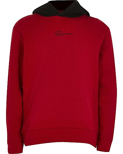 Boys red 'River' print hoodie