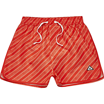 Boys red river print swim shorts