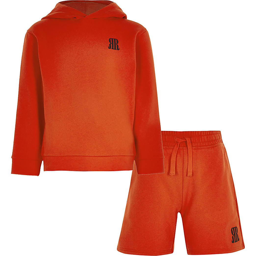 Boys red RR hoodie outfit