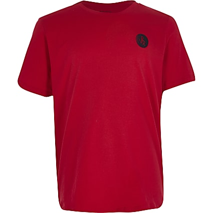 Boys red RVR chest print t-shirt