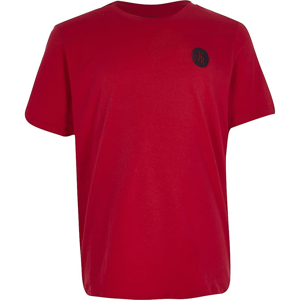 Boys red RVR chest print t-shirt