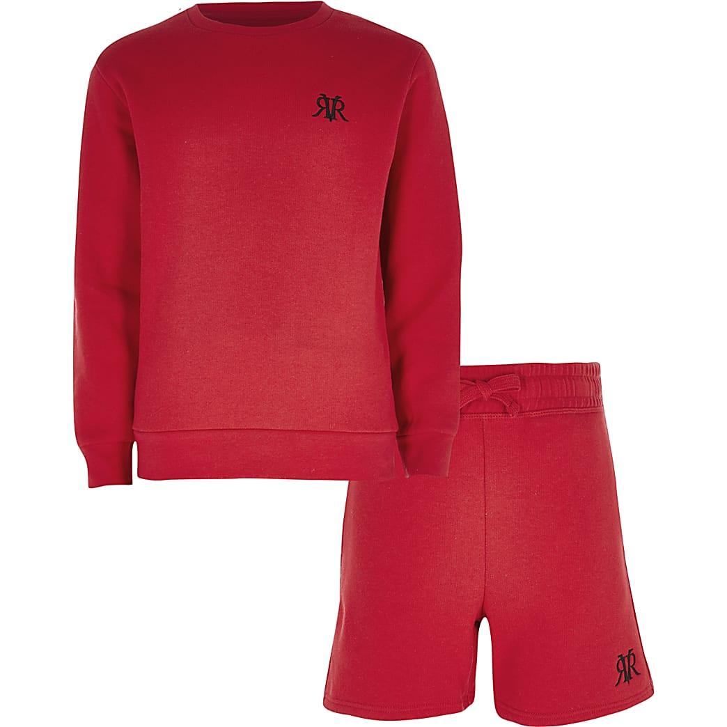 Rode sweater outfit met RVR-print voor jongens