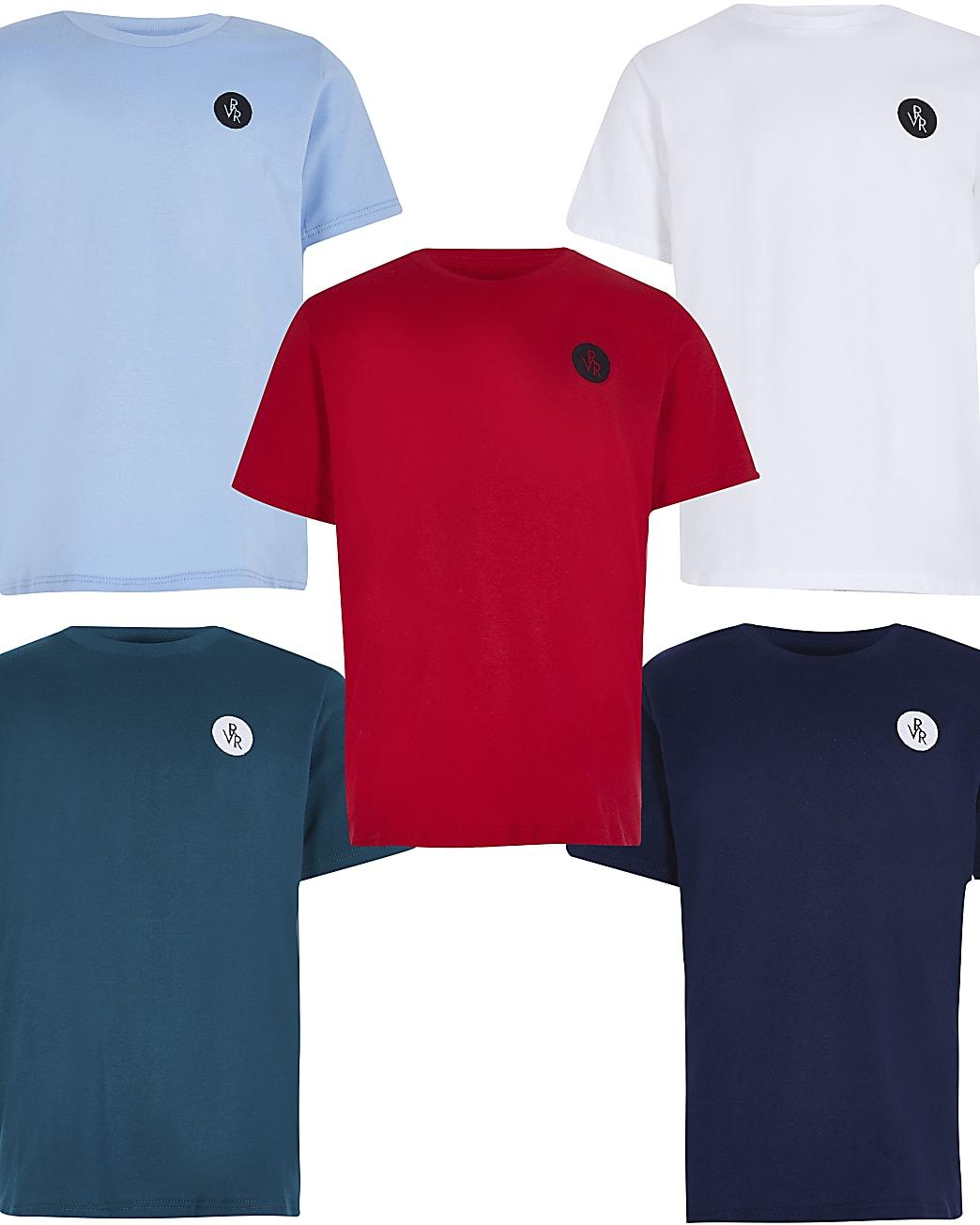 Boys red RVR t-shirts 5 pack