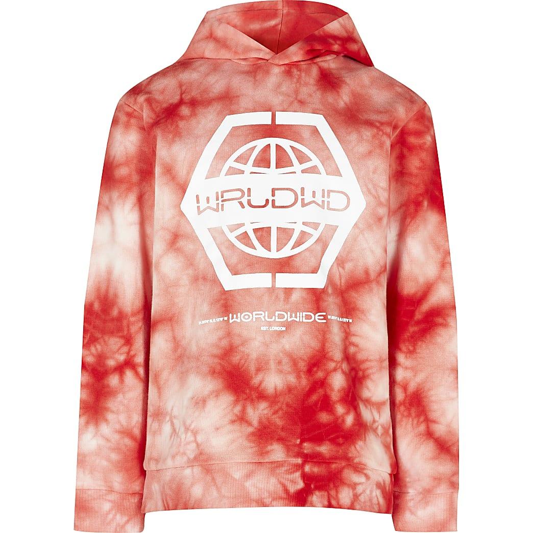Boys red tie dye printed hoodie