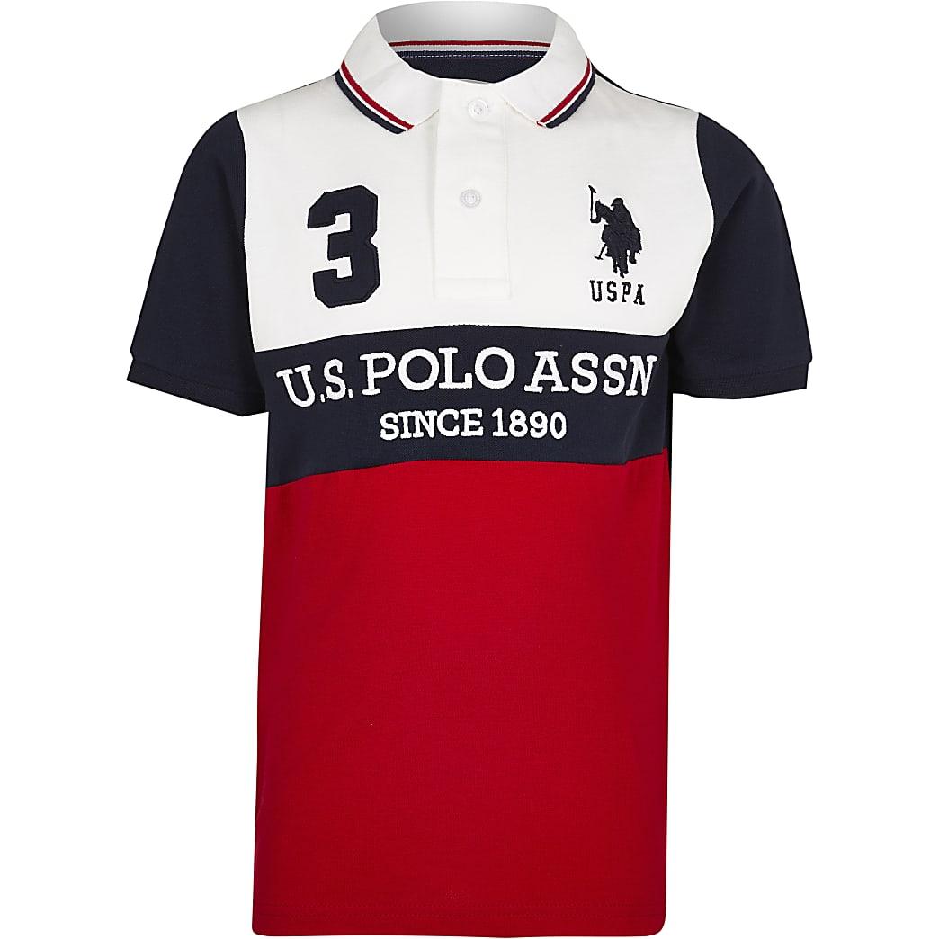 Boys red USPA colour block polo shirt