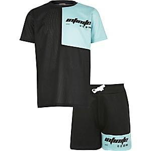 RI Active - Zwart T-shirt outfit met kleurvlakken voor jongens