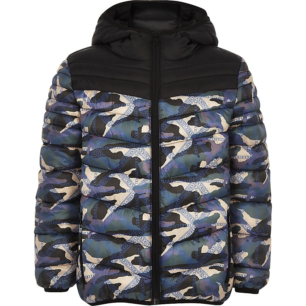 RI Active - Zwart gewatteerd jack met camouflageprint voor jongens