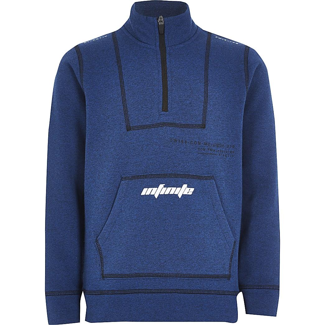 Boys RI Active blue funnel neck sweatshirt