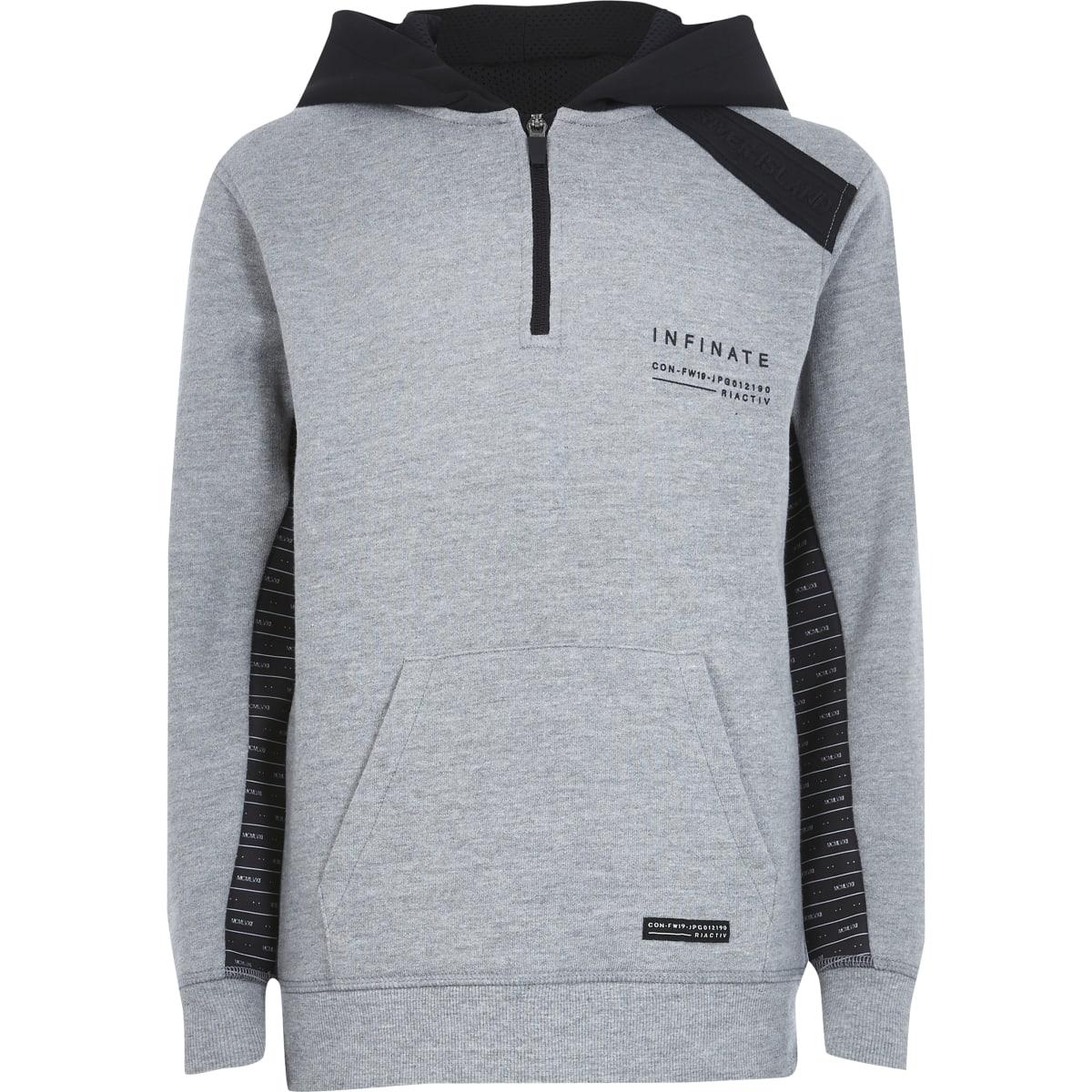RI Active - Grijze hoodie met bies voor jongens