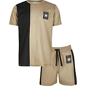 RI Active – Steingraues T-Shirt-Outfit mit Mesh-Einsatz für Jungen
