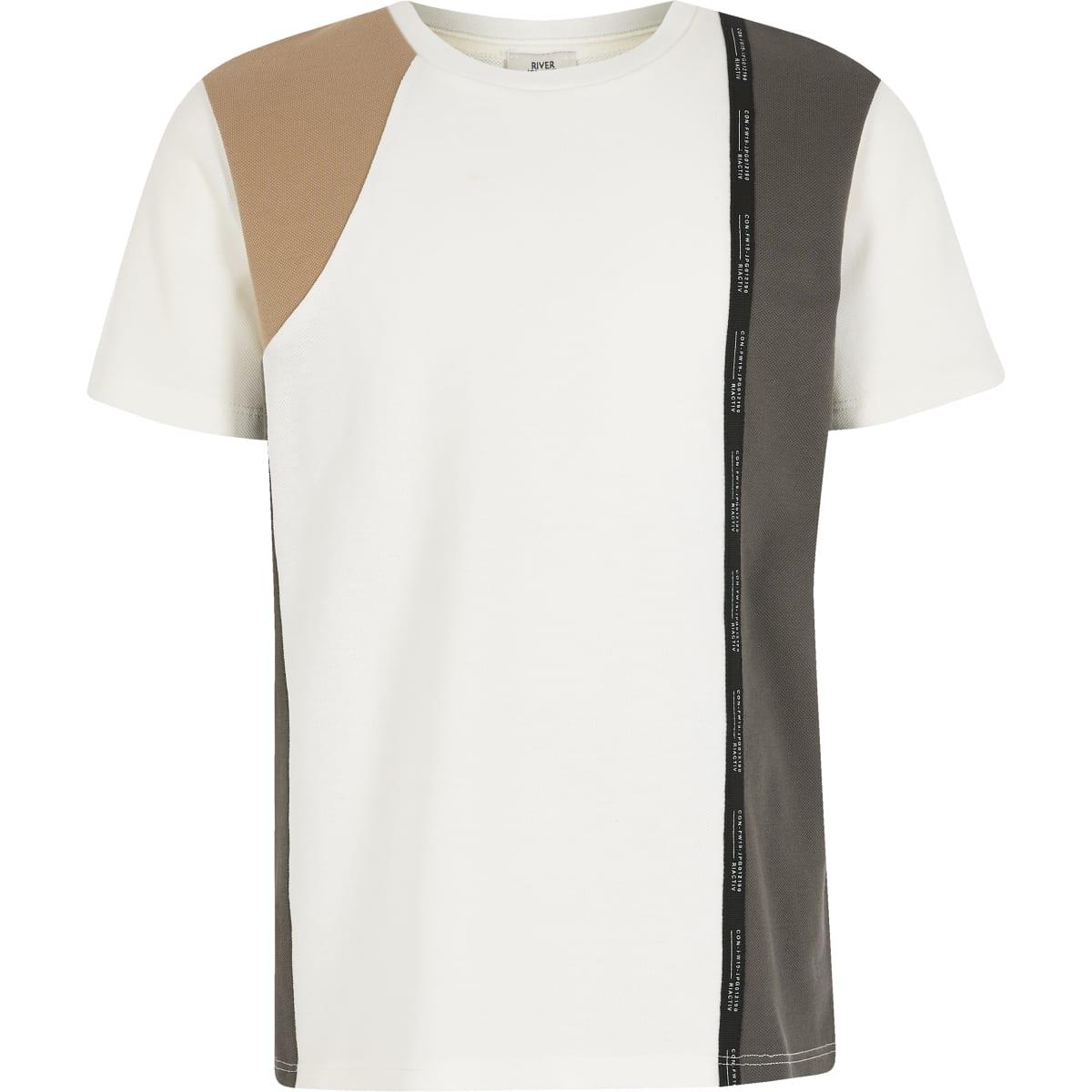 RI Active - Wit T-shirt met kleurvlakken en bies voor jongens