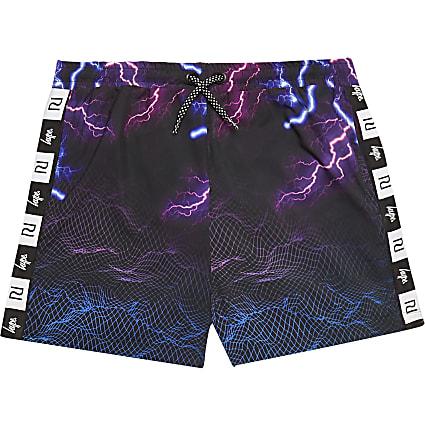 Boys RI x Hype black lightning print shorts