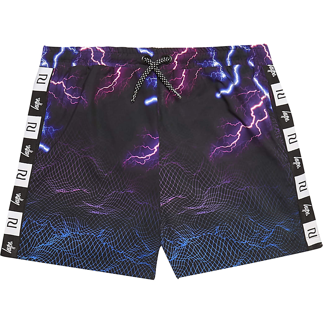 Boys RI x Hype black lightning print shorts