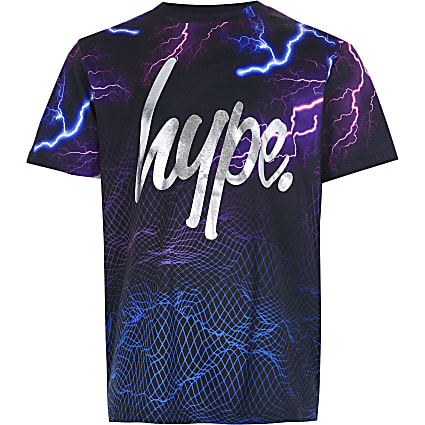 Boys RI x Hype black lightning print t-shirt