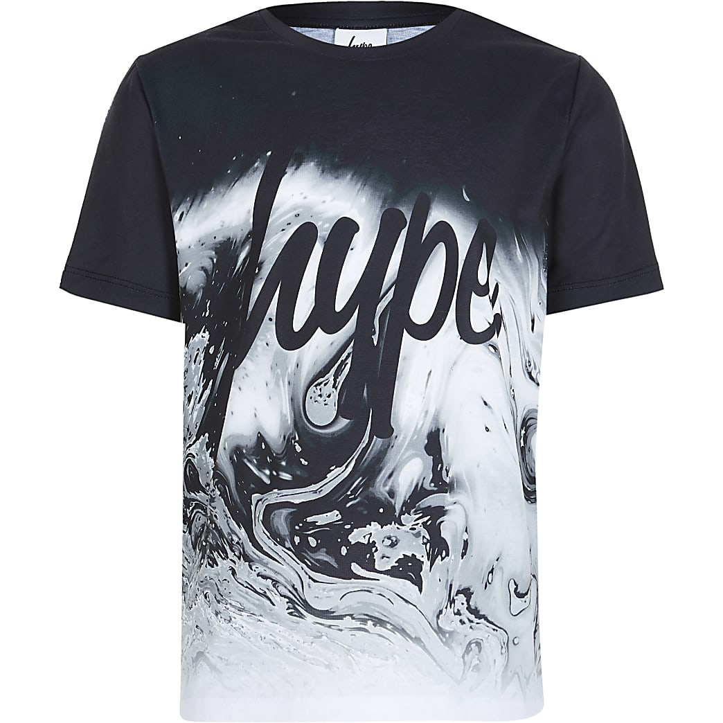 Boys RI x hype black marble fade t-shirt