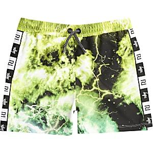 RI x Hype - Groene tie-dye zwemshort voor jongens