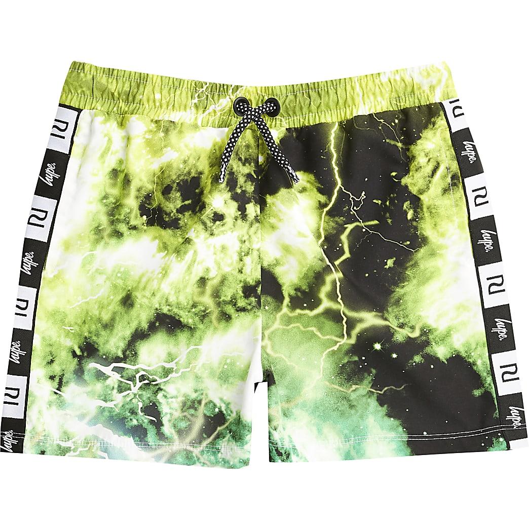 Boys RI x Hype green tie dye swim shorts