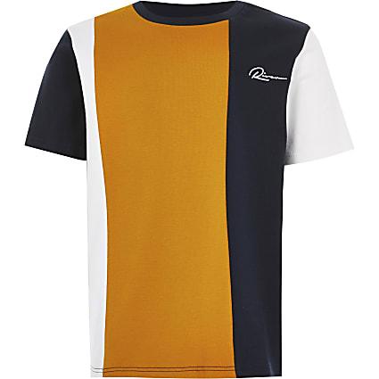 Boys 'River' navy colour blocked t-shirt
