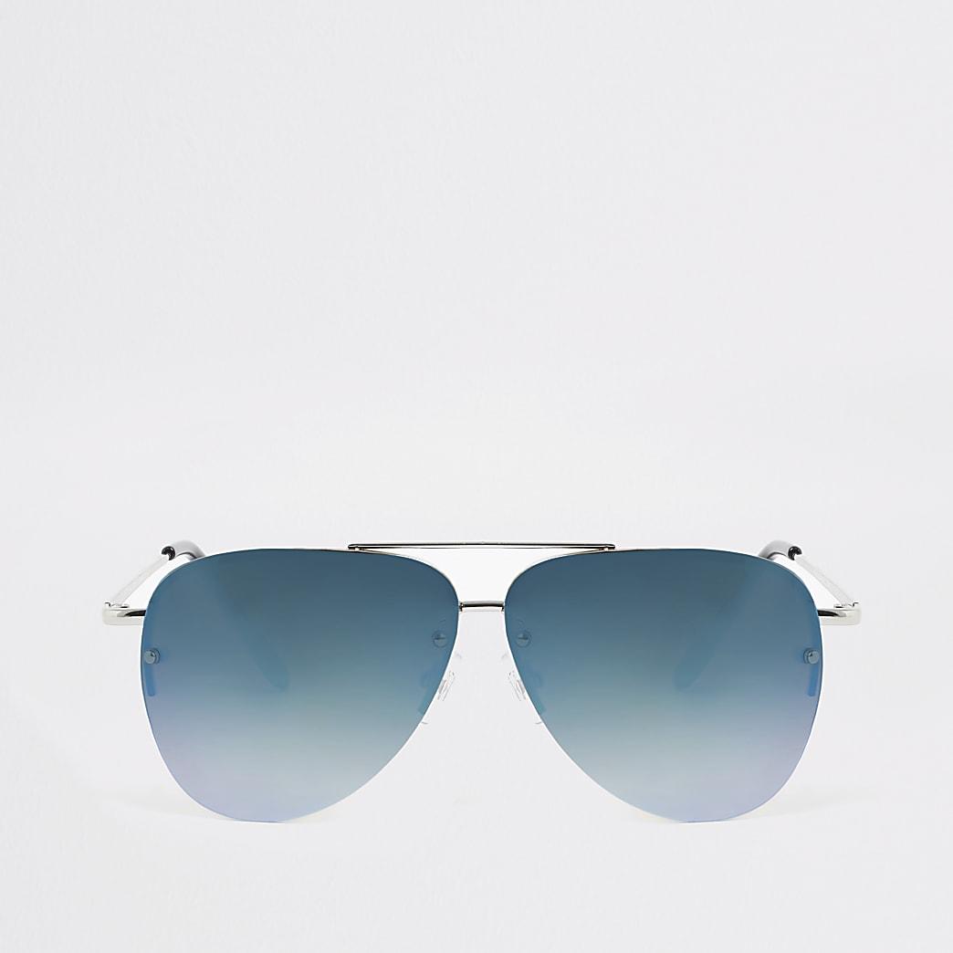 Zilverkleurige pilotenzonnebril met blauwe glazen voor jongens