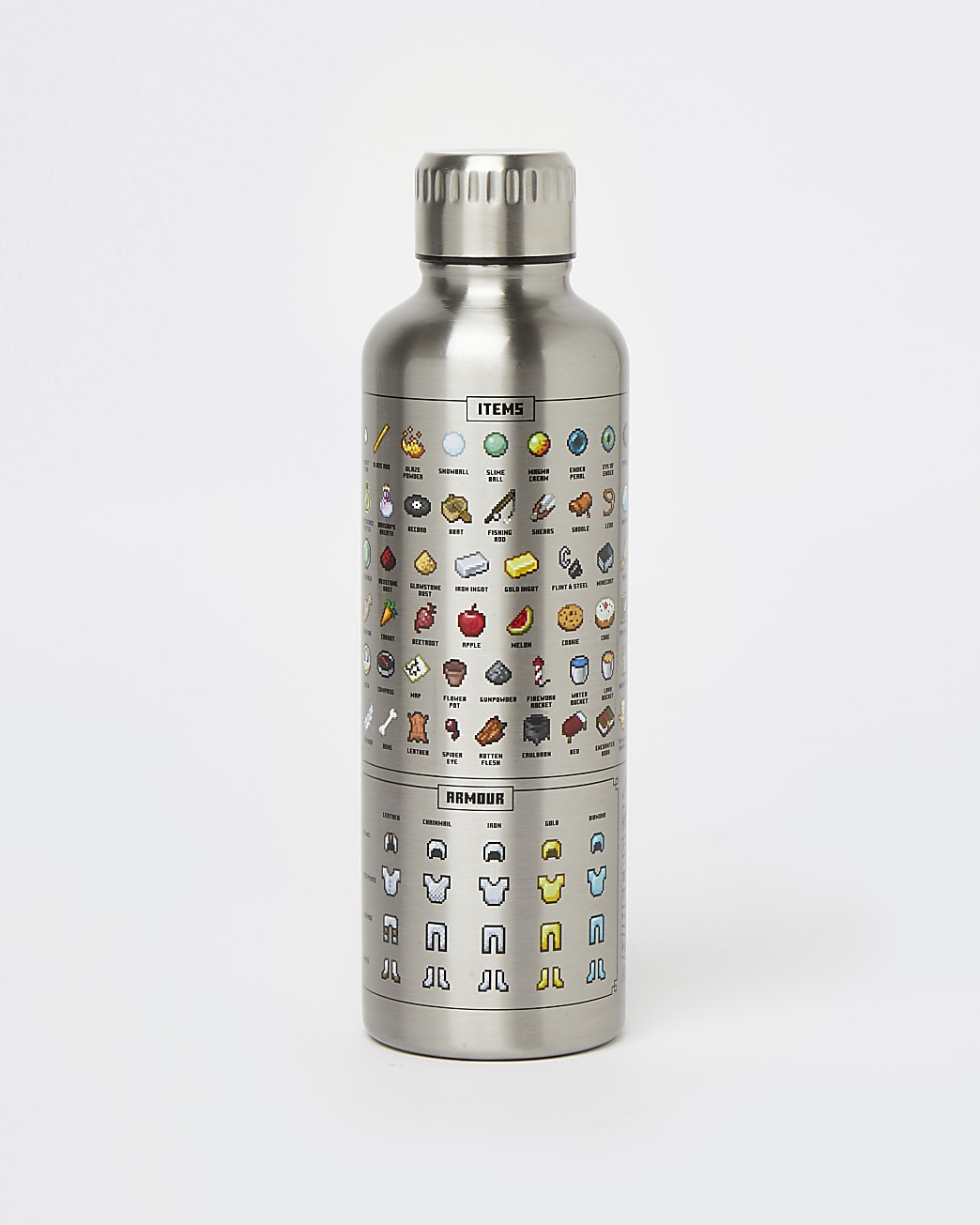 Boys silver Minecraft water bottle
