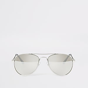 Boys silver mirrored aviator sunglasses