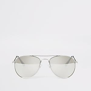 Silberne, verspiegelte Pilotensonnenbrille für Jungen