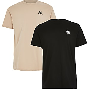 Boys stone and black RVR T-shirt 2 pack