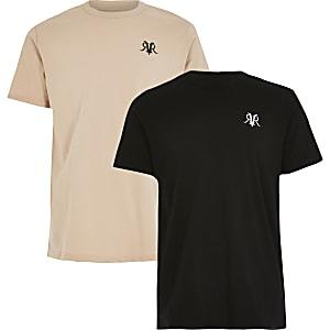 RVR – T-Shirt in Steingrau und Schwarz für Jungen, 2er-Pack