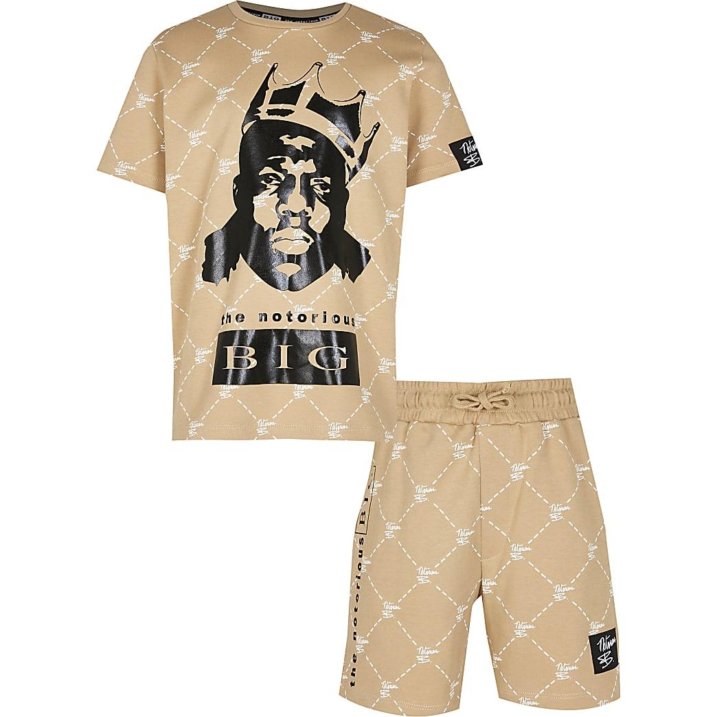 Boys stone Biggie t-shirt and shorts set