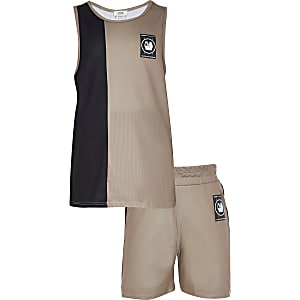 Boys stone blocked vest mesh set