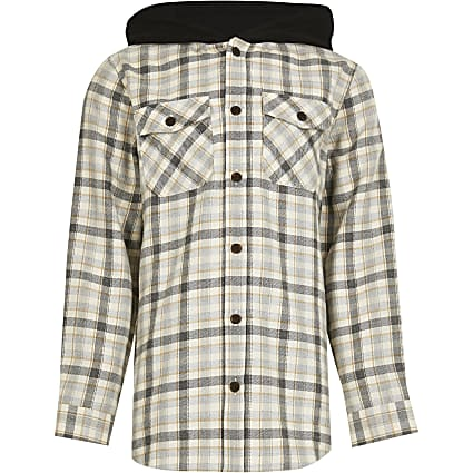 Boys stone check hooded overshirt