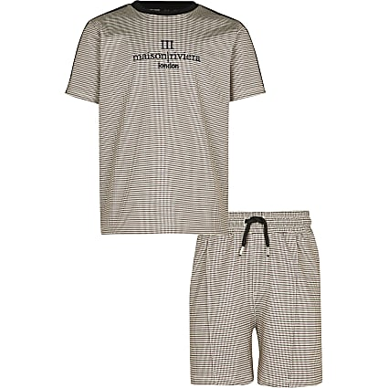 Boys stone check 'Maison' short outfit