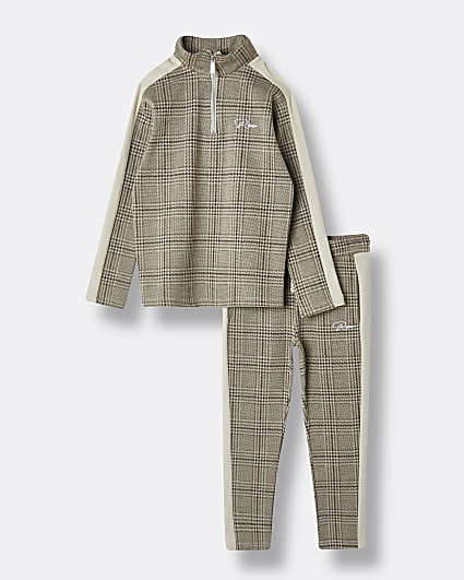 Boys stone check print tracksuit outfit
